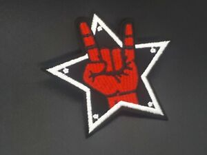 Rock-and-Roll-hand-Sign-Music-Biker-Iron-or-Sew-on-Embroidered-Patch