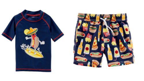 Carter/'s Baby Boys Hot Dog Rashguard Swim Top Trunks New