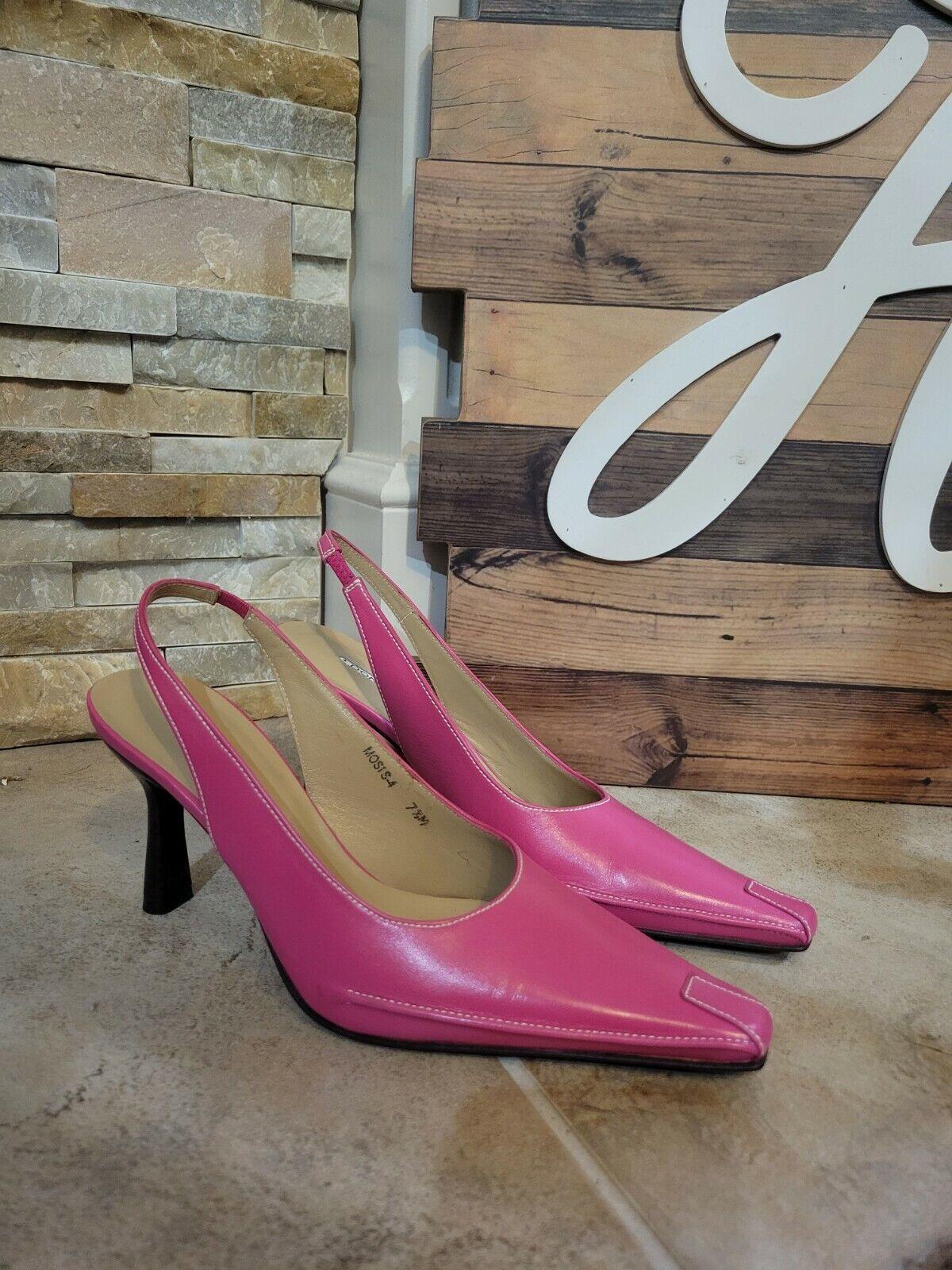 Donald J Pliner Women's Hot Pink Slingback Heels Point Toe Size 7.5