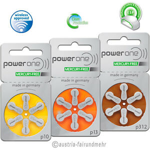 POWER-ONE-Hoergeraete-Batterie-MERCURY-FREE-Typ-p10-p13-p312