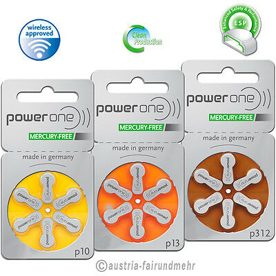 POWER ONE  Hörgeräte Batterie MERCURY FREE Typ p10 - p13 - p312