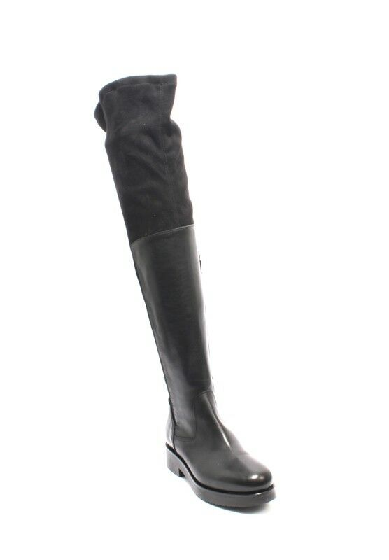 Mally 6311 Black Leather Stretch Over-the-Knee Zip-Up Riding Boots 36   US 6