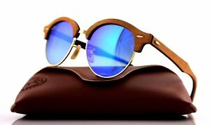 RARE Genuine RAY-BAN CLUBROUND WOOD Blue Flash Lens Sunglasses RB 4246M 1180/7Q