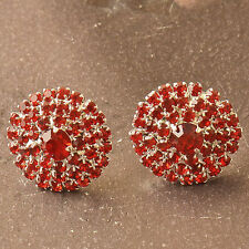 New Silver Plated Bright Red Crystal Cluster Round Button Style Stud Earrings