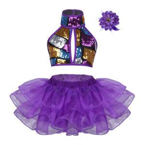 Girls-Jazz-Dance-Dance-Halter-Sequins-Ballet-Dance-Leotard-Tutu-Skirt-Dancewear