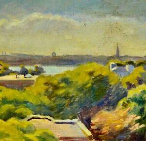 Franz-Beck-1893-1983-Stade-Impressionismus-TOP-Gemaelde-BLICK-AUF-HAMBURG