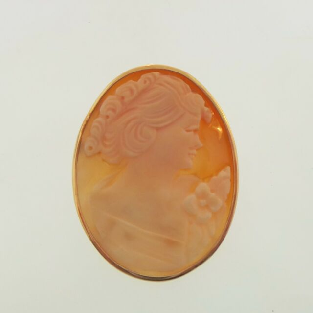 Vintage Genuine Shell Cameo Solid 18K Yellow Gold Pin/Pendant