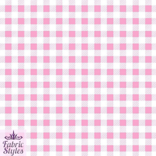 FS130 Black Blue Pink Yellow Gingham Print On Scuba Fabric Checked Square Tartan