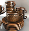 Set-Of-4-Wedgwood-Mid-Century-Stoneware-Cups-and-Saucers-Brown-Pennine-England thumbnail 5