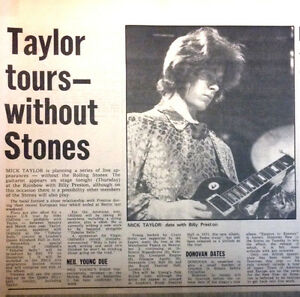 1973 Rolling Stones Taylor tours without Stones Clipping Original UK Magazine - Deutschland - 1973 Rolling Stones Taylor tours without Stones Clipping Original UK Magazine - Deutschland