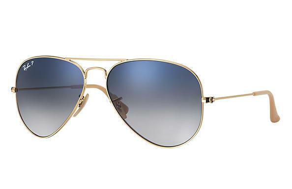 ray ban aviator 58mm gold polarized
