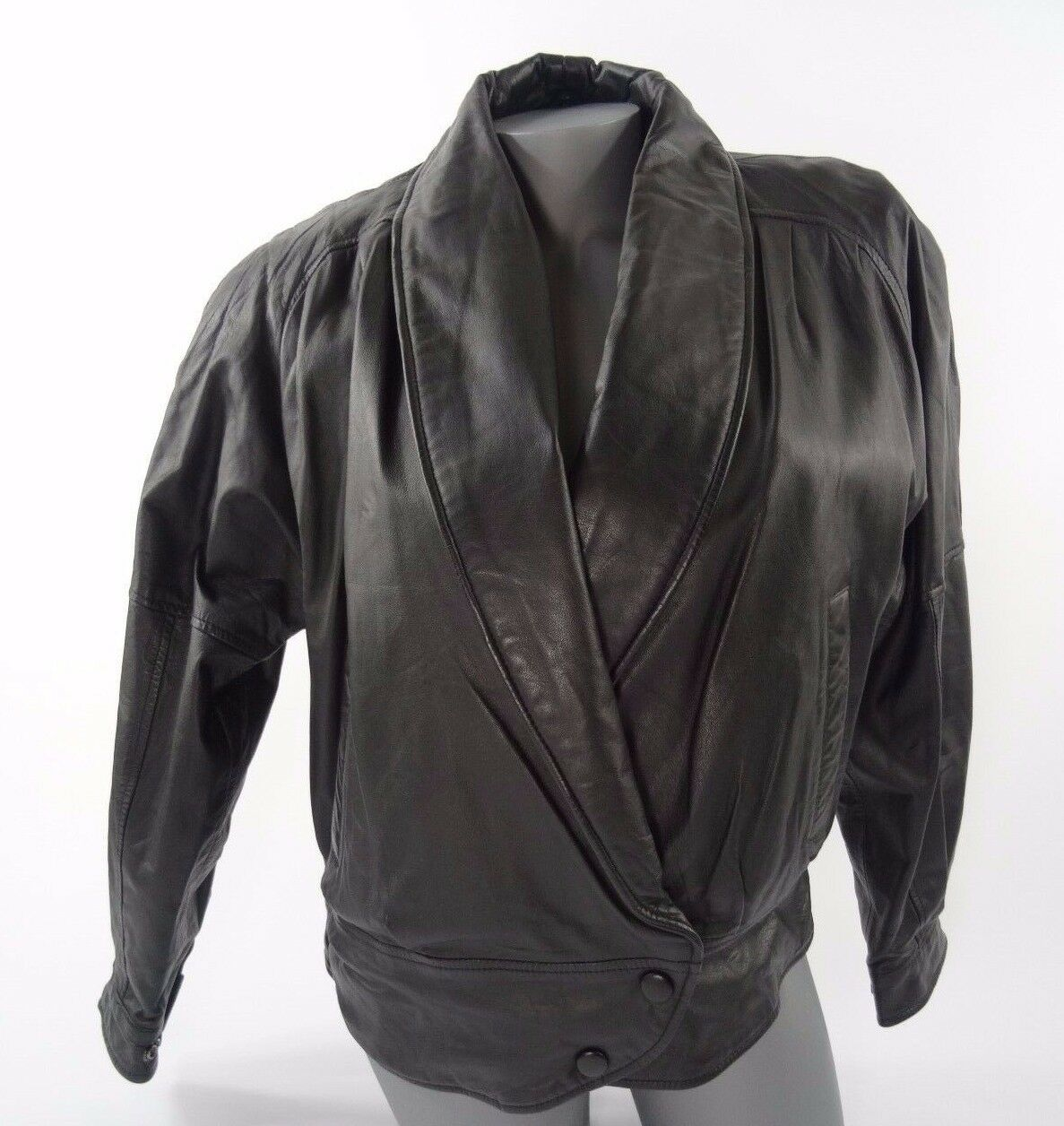 Vintage Leather Womens Black Thinsulate Motorcycle Jacket Size M