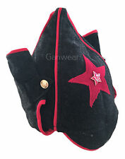 USSR Soviet Russian Red Army Style War Budenovka Black Hat Cap Red Star Badge