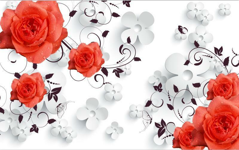 3D Modern large rot flower Wall Paper Print Decal Wall Deco Indoor wall Mural