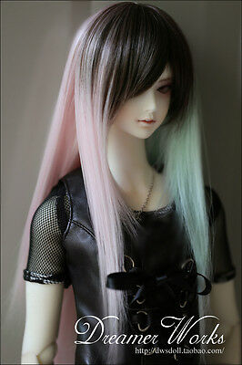 "1/3 8-9"" Dal Pullip BJD SD DZ DOD LUTS dollfie Doll pink black STRAIGHT wig hair"