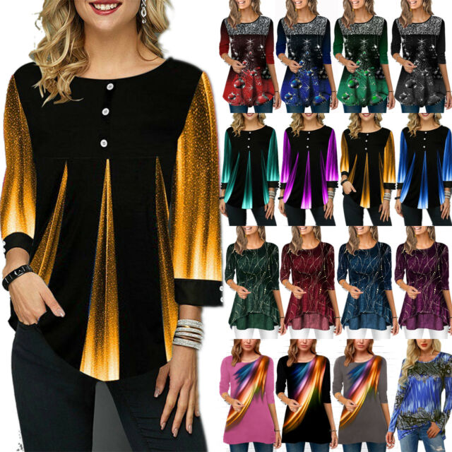 Plus Size Women Long Sleeve Glitter Gradient Tunic Shirt  Flared Blouse Tops