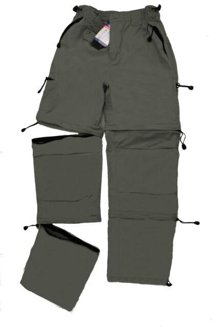 Double Zip-Off Trek Convertible Walking Cotton Trousers Elasticised Waist