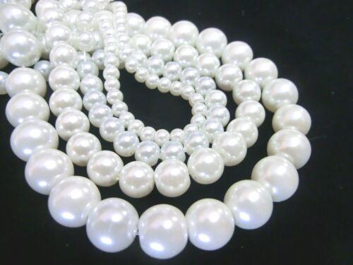 70 Glaswachsperlen Blanc 6 Mm Boules Perles environ de perles de verre
