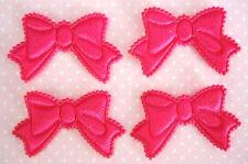 60 Padded Satin Cute Ribbon Bow Motif Applique/trim/Sew *US Seller H422-Hot Pink