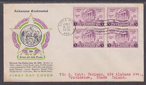 US-Planty-782-14-FDC-1936-3c-Arkansas-Centennial-Block-of-4-Laird-Cachet