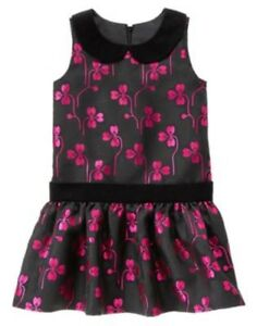 GYMBOREE-HOLIDAY-GEMS-BLACK-FLORAL-JACQUARD-DRESSY-DRESS-6-NWT