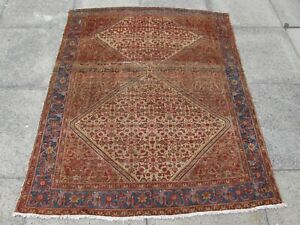 Fine-Antique-Traditional-Hand-Made-Oriental-Brown-Blue-Red-Wool-Rug-167x136cm
