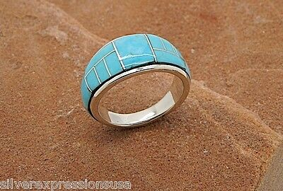 Sleeping Beauty Turquoise Inlay 925 Sterling Silver Men's Band Ring Sz 11