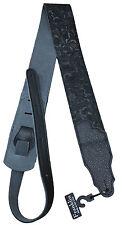 """Franklin FSSEBKBK 2.5"""" Black Embossed Suede Leather Guitar Strap - Made in USA"""