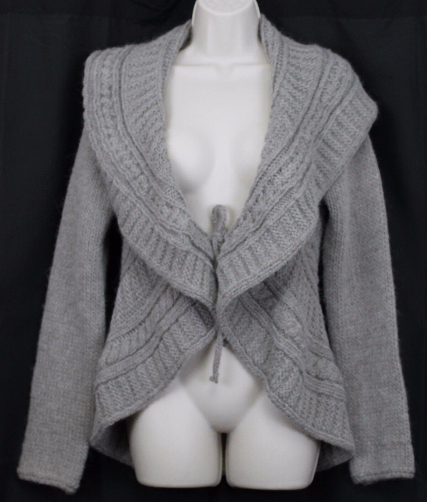 ElsaManda Lg Grey Cardigan Sweater Woman Woman Woman Alpaca Wool  Stone Tie Closure 1862f7