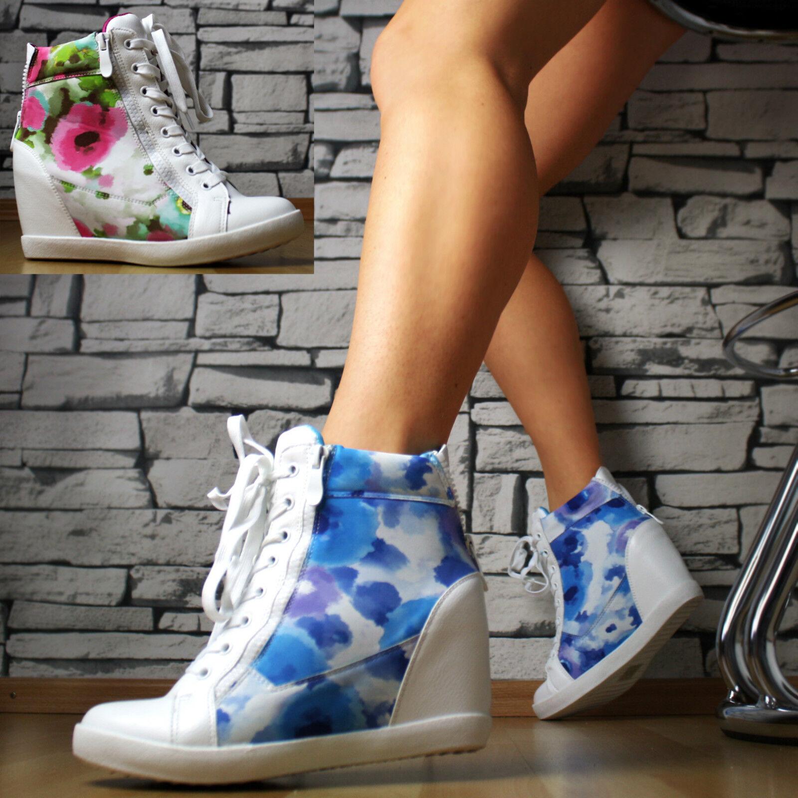 Designer Luxus Sneaker Keilabsatz Wedges Blumen Damen Schuhe Stiefeletten SeXy