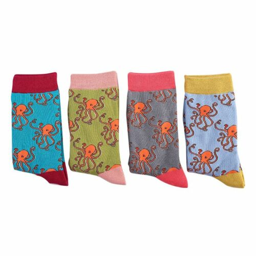 Very Soft  4-7 Ladies Octopuses Bamboo Socks Pale Blue Novelty Miss Sparrow