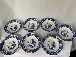Imari-Blossom-W-Butterflies-7-Soup-Bowls-Blue-White