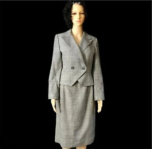 Peabody-House-Skirt-Suit-9-10-Black-White-Houndstooth-Wool-Blend-Vintage-Womens