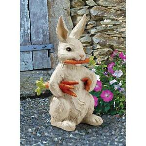 "Design Toscano Exclusive Hand Painted 12½"" Carotene Bunny Rabbit Garden Statue"