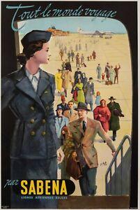Original-Aviation-Poster-Travel-the-World-Sabena-Belgium-Airport-1950