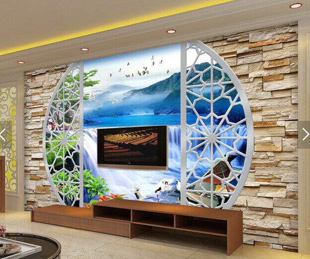 3D Waterfall Birds 74 Wall Paper Murals Wall Print Wall Wallpaper Mural AU Lemon