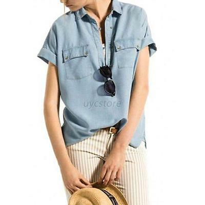 Fashion Retro Women Blue Jean Denim Short Sleeve Shirt Tee Top Blouse Jacket U70