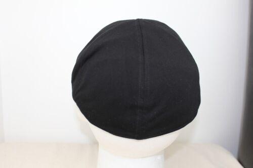 Black 6 panel Lightweight Mens Flat Cap 58cm M