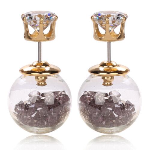 Fashion Zircon Rinestone boule en verre perle bouton Stud Post Piercing Boucles d/'oreilles cadeau