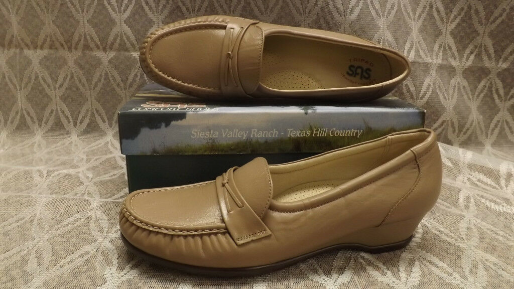 SAS  EASIER   Mocha Brown Leather Moccasin Loafer shoes NIB sz 7 N USA made