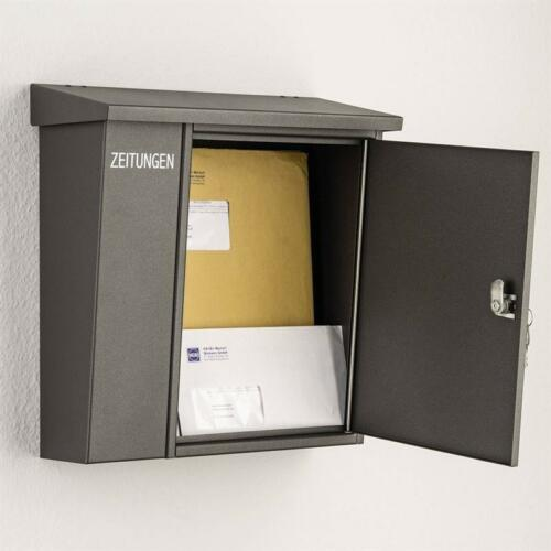Heibi Briefkasten 43661-039 Grafitgrau mit Zeitungsfach