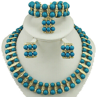 d5621482c903c Sea Blue Elegant 3 layers Beads with flower Necklace Earring Jewelry Set  3816158092807 | eBay