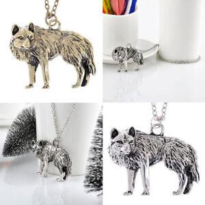 Vintage-Wolf-Anhaenger-Halskette-Silber-Bronze-Wolf-Kette-Schmuck-Damen-Herren