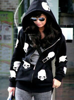 Casual Lady Women Coat Gothic Skull Zip Hoodie Coat Zip Jacket Blouse Size HOT