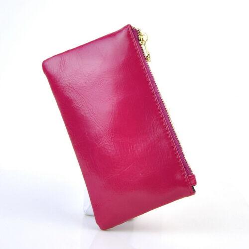 Les Femmes en Cuir Véritable Slim Portefeuille Petit Sac à Main Zip Coin Sac changement Lady Porte-clés