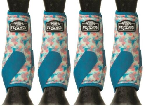 WEAVER PRODIGY PERFORMANCE ATHLETIC HORSE SPORT BOOTS 4 PACK Floral Steer M