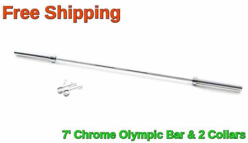 Olympic Chrome Bar 7' ft Weight Lifting Workout Gym 45 lb Barbell Bar NEW