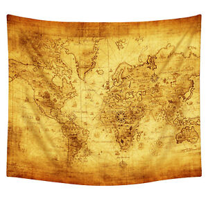 Vintage world map wall tapestries hanging hippie tapestry bedspread image is loading vintage world map wall tapestries hanging hippie tapestry gumiabroncs Choice Image