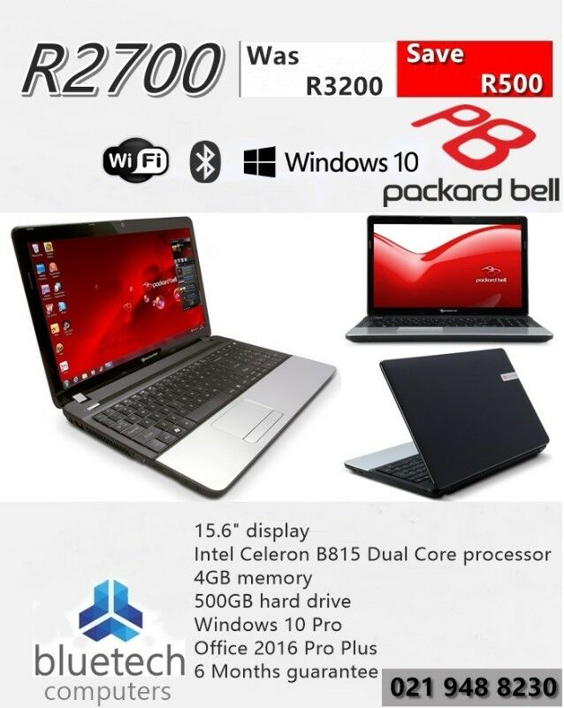 Black Packard Bell Laptop 15.6'' Celeron Dual Core B815 4GB 500GB HD Webcam. Bluetech Computers.