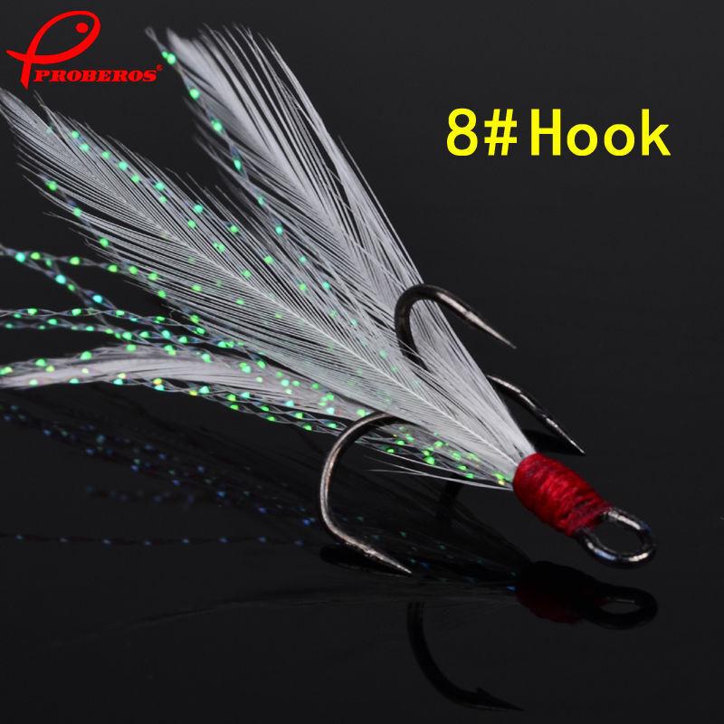 Lot 20pcs Fishing Hooks Treble With Feather Minnow Fishing Lures Crankbaits SZ10